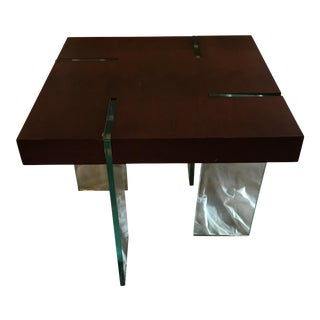 Contemporary Glass & Wooden Coffee Table For Sale