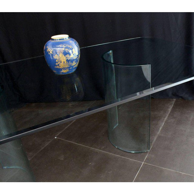 Mid 20th Century Curved Glass Base Thick 3/4 Glass Top Large Dining Conference Table For Sale - Image 5 of 9