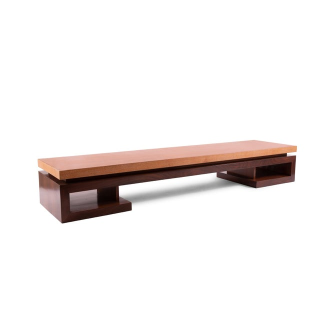 Paul Frankl mahogany and rosewood cocktail or coffee table, circa late 1940s. This simple yet stunning example has a solid...