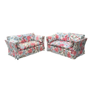Vintage Mid-Century Modern Floral Love Seats - a Pair