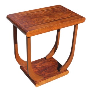 1940s Art Deco Exotic Walnut Side Table For Sale