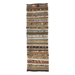 Vintage Turkish Striped Decorative Kilim Runner - 2′11″ × 9′2″ For Sale