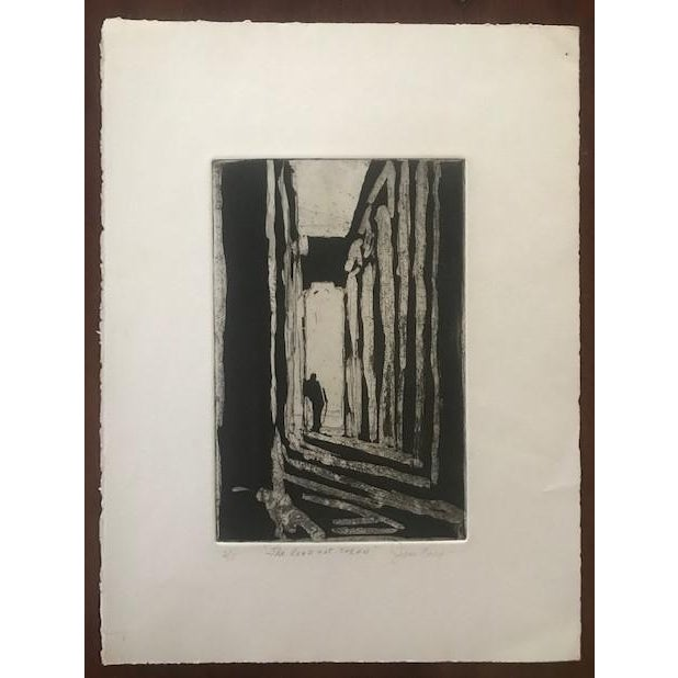 """This print on archival hand made paper is numbered 2/5, signed by the artist Joan Corrigan, and titled """"The Road Not..."""