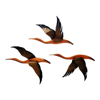 Mid Century Modern Flying Wall Geese Ducks- Set of 3 For Sale