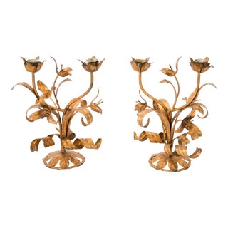 Italian Florentine Tole Gilt Candleabras - a Pair For Sale