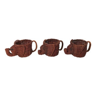 Late 20th Century Vintage Wicker Cup Holders -Set of 3 For Sale
