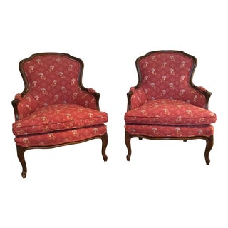 Vintage Red Bergere Chairs - A Pair For Sale