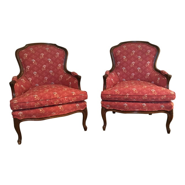 vintage red bergere chairs a pair chairish