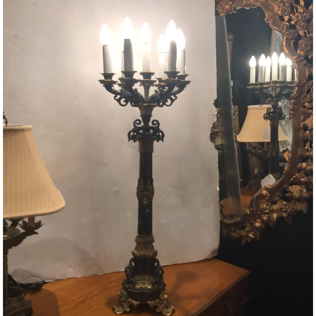 Bronze 19th Century Louis XV Bronze and Ormolu Electrified Candelabra For Sale - Image 7 of 11