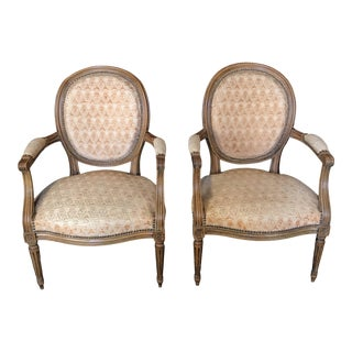 Louis XVI Walnut Armchairs or Fauteuils -A Pair For Sale