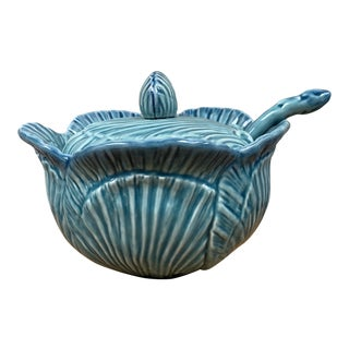 Blue Shell Soup Tureen, Portugal For Sale