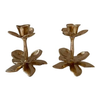 Tulip Brass Candle Holders - a Pair For Sale