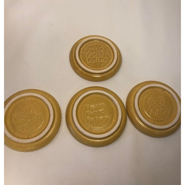 Pigeon Forge Pottery Yellow Coasters-Ashtrays Old Buttermold - Set of 4 For Sale - Image 11 of 13