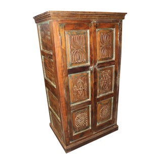 1920s Antique Indian Armoire For Sale