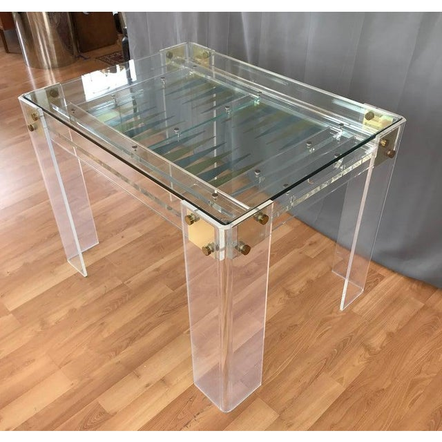 Charles Hollis Jones Lucite and Brass Backgammon Game Table in the Manner of Charles Jones For Sale - Image 4 of 13