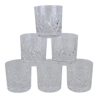 English Cut Crystal Lowball Old Fashioned Glasses- Set of 6 For Sale