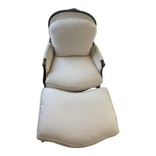 1990s Vintage Henredon Louis XV Velvet Stripped Ivory Bergere Chair & Ottoman For Sale