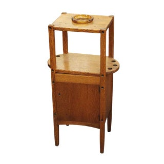 20th Century Arts and Crafts Humidor Oak Pipe & Ashtray Stand For Sale