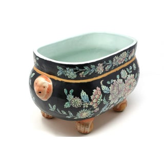 Vintage Hand-Painted Clawfoot Pot With Foo Lion Handles Preview