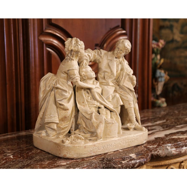 "Tan 19th Century American Cast Plaster Sculpture ""Playing Doctor"" Signed John Rogers For Sale - Image 8 of 13"