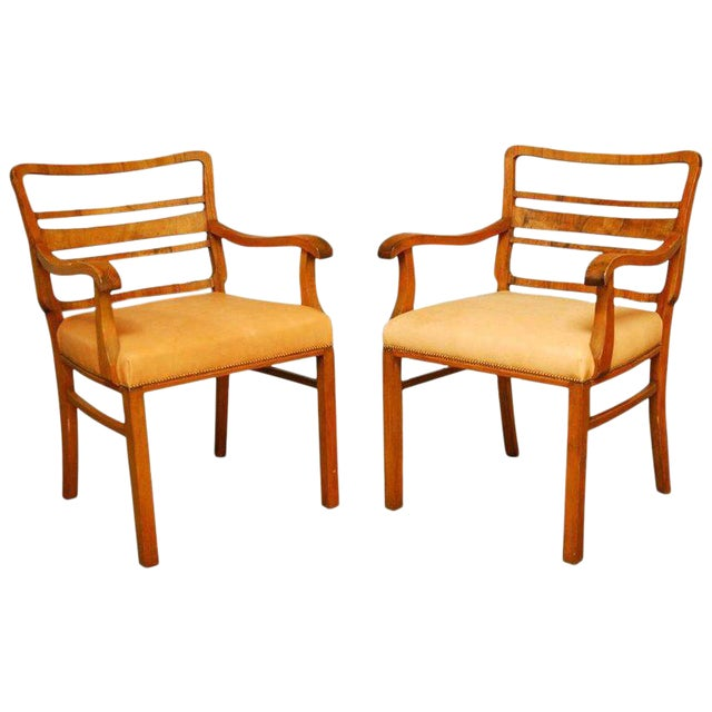 Mid-Century Mahogany and Leather Library Chairs - A Pair For Sale
