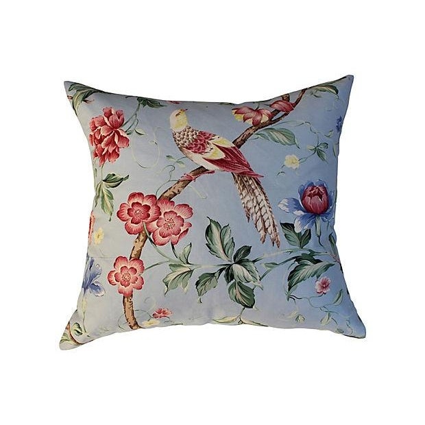 Asian Scalamandre Floral & Bird Chinoiserie Pillows - a Pair For Sale - Image 3 of 6