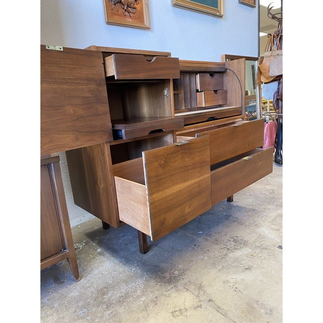 Coffee Mid Century Hooker for Mainline Secretary Roll Top Desk For Sale - Image 8 of 13