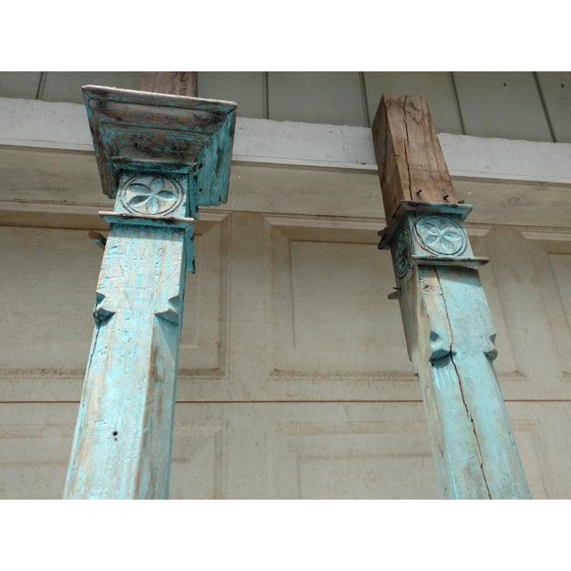 Asian Antique Blue Ceylonese Temple Pillars - a Pair For Sale - Image 3 of 13