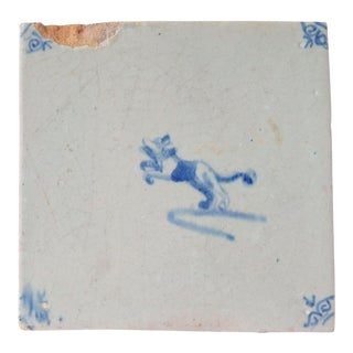 17th Century Vintage Delft Tile Antique Dog Blue White Porcelain Tile For Sale
