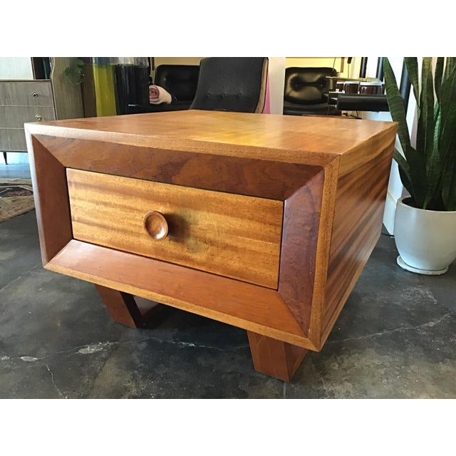 Great oversized storage piece, circa 1970s, single drawer and interesting base detail.