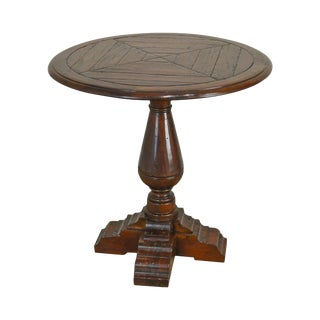 Country English Style Distressed Round Side Table For Sale