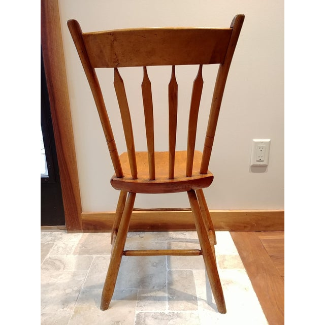 American Primitive Maple Thumb Back Chair For Sale - Image 4 of 8