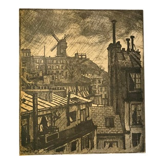1890's Montmartre Cityscape, Original Paris Belle Epoque Skyline Print For Sale