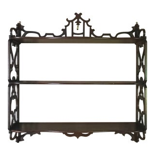 Vintage Chinoiserie Mahogany Wall-Mounted Shelf For Sale