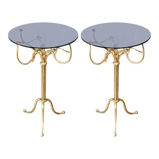 Gilt Wrought Iron Side Tables - A Pair For Sale