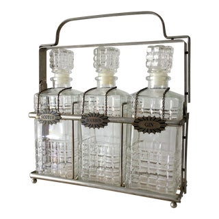 Vintage 3 Glass Decanters With Chrome Tantalus For Sale
