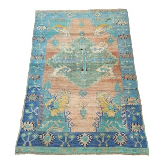 Turkish Vintage Colorful Hand-Knotted Oriental Area Rug For Sale