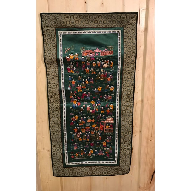 Asian Vintage Chinese Embroidered Wall Hanging For Sale - Image 3 of 8