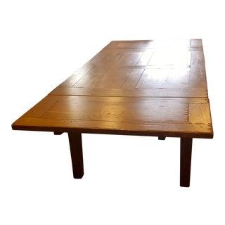 American Oak Farm Dining Table For Sale
