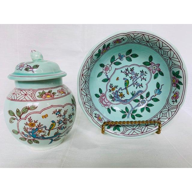 Mid 20th Century Adams Calyx Ware Singapore Bird Pattern Jar & Bowl - Set of 2 For Sale In Jacksonville, FL - Image 6 of 6