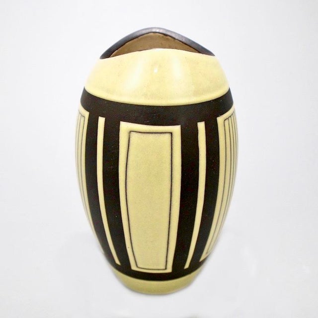 Mid-Century European Yellow & Brown Ceramic Vase For Sale - Image 5 of 7