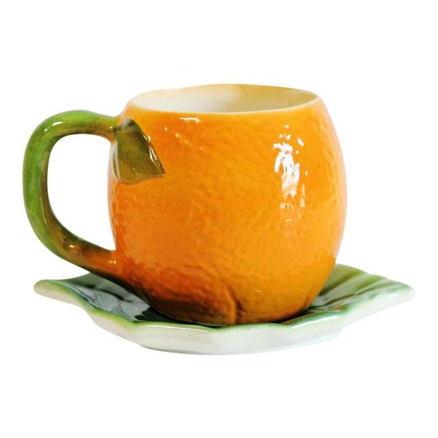 Majolica Orange Cup and Leaf Saucer - Image 1 of 6