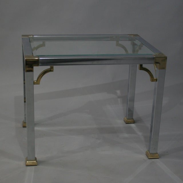 Mastercraft Chrome Brass Chinoiserie Side Table - Image 8 of 9
