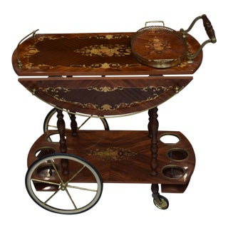 Vintage Italian Marqutry Inlaid Wood & Brass Rolling Bar or Tea Cart For Sale