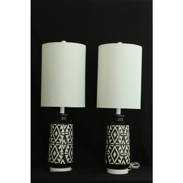 Art Deco Geometric Ceramic Table Lamps - A Pair For Sale - Image 3 of 7