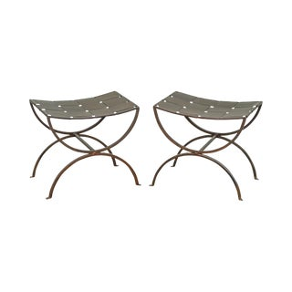 Regency Style Wrought Iron X Benches - A Pair