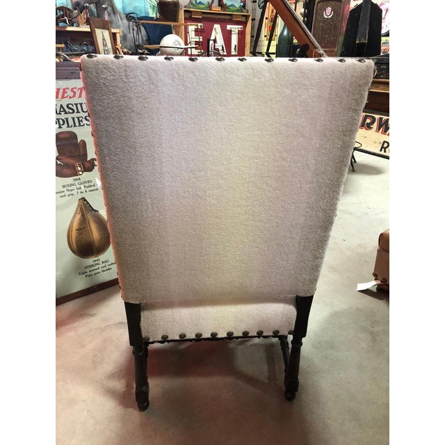 Antique Wool Upholstered Arm Chair For Sale In Chicago - Image 6 of 7