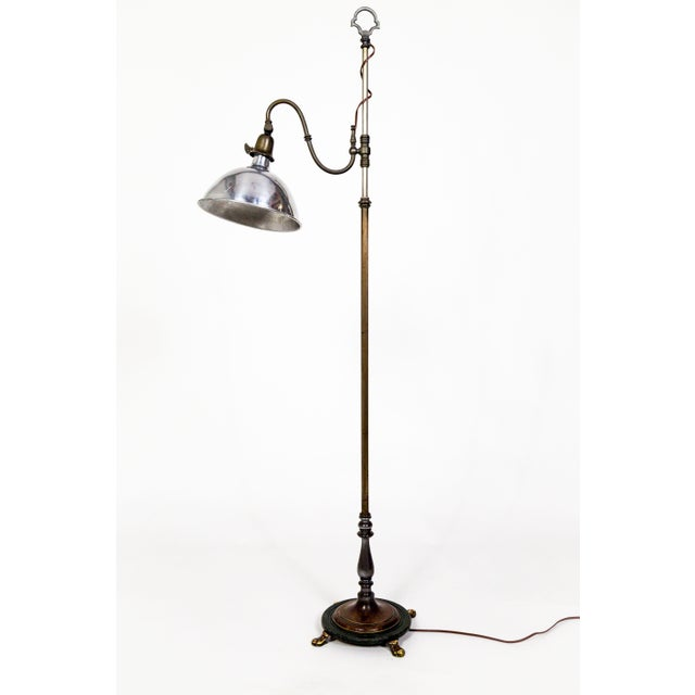 1930's Adjustable Paw Foot Floor Lamp With Green Accent Base For Sale - Image 10 of 10