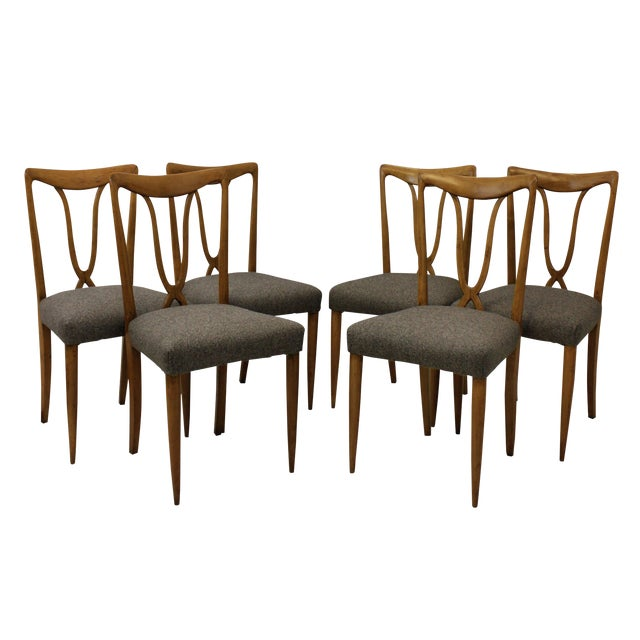 Set of Six Stylish Italian Dining Chairs For Sale