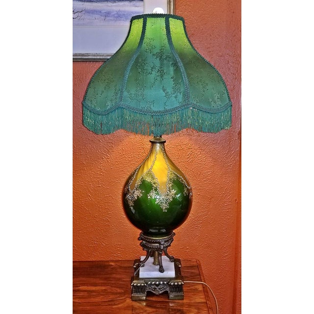 Vintage Murano Glass Table Lamp With Gold Overlay and Bronze and Marble Mounts For Sale - Image 13 of 13